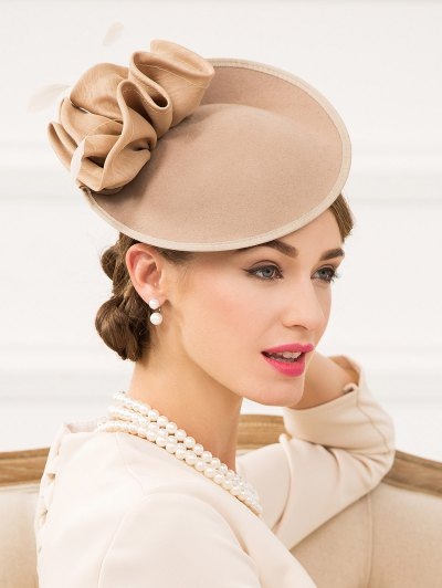 Feather Cocktail Hat - CAMEL  Mobile