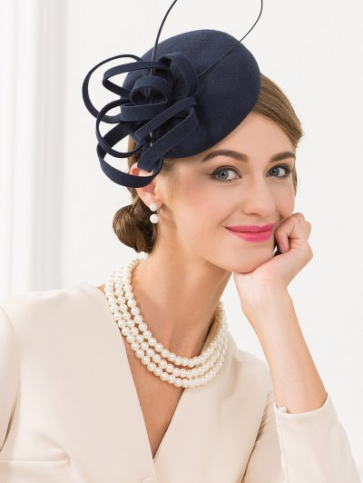 Wool Spiral Band Cocktail Hat - ROYAL  Mobile