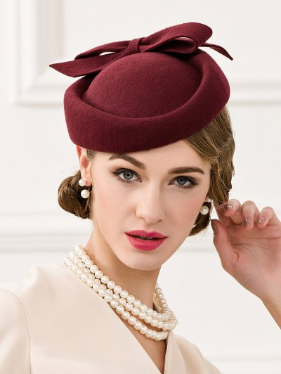 Bowknot Wool Pillbox Hat - WINE RED  Mobile