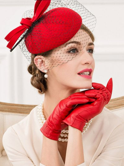 Feather Bowknot Mesh Cocktail Hat - BRIGHT RED  Mobile