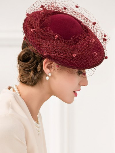 Floral Mesh Yarn Cocktail Hat - WINE RED  Mobile
