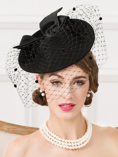 Mesh Yarn Bowknot Dot Cocktai Hat - BLACK  Mobile