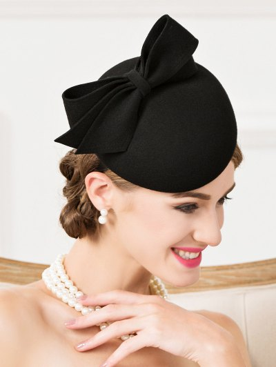 Outdoor Bowknot Wool Cocktail Hat - BLACK  Mobile