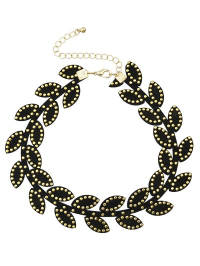 Rivet Leaf Choker Necklace - BLACK  Mobile