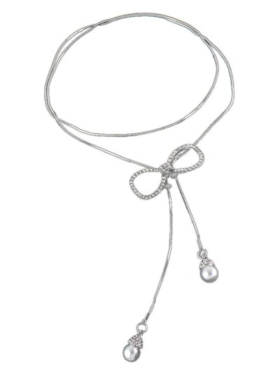 Rhinestone Bowknot Faux Pearl Necklace - SILVER  Mobile