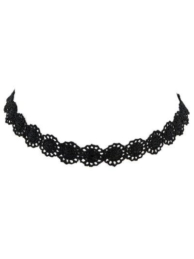 Lace Hollow Out Floral Necklace - BLACK  Mobile