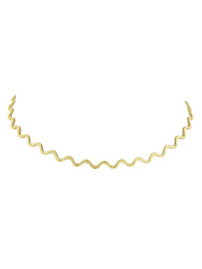 Alloy Wavy Choker Necklace - GOLDEN  Mobile