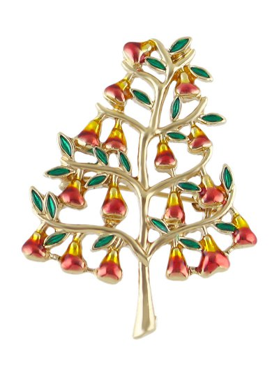 Tree Faux Gem Alloy Brooch - GOLDEN  Mobile