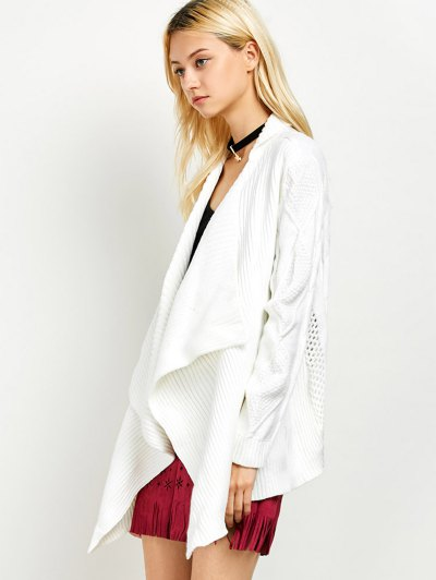 Draped Basket Weave Cable Cardigan - WHITE S Mobile