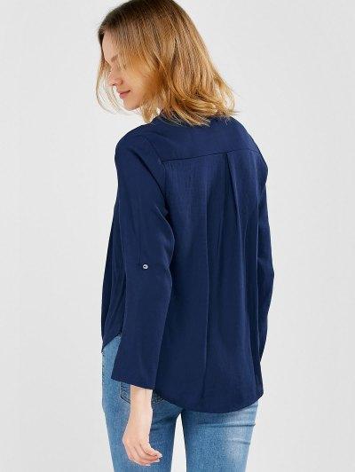 Oversized Asymmetrical Blouse - PURPLISH BLUE L Mobile