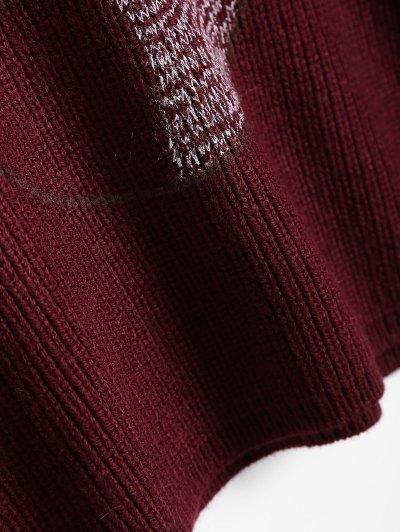 Bear Jacquard Sweater - BURGUNDY ONE SIZE Mobile
