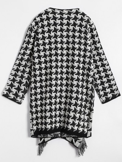 Drape Front Houndstooth Cardigan - WHITE AND BLACK ONE SIZE Mobile