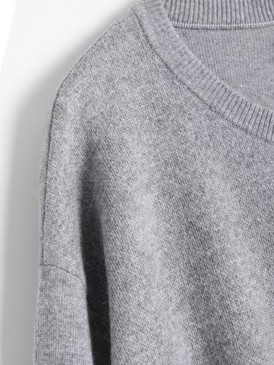Pineapple Jacquard Pullover Sweater - GRAY ONE SIZE Mobile