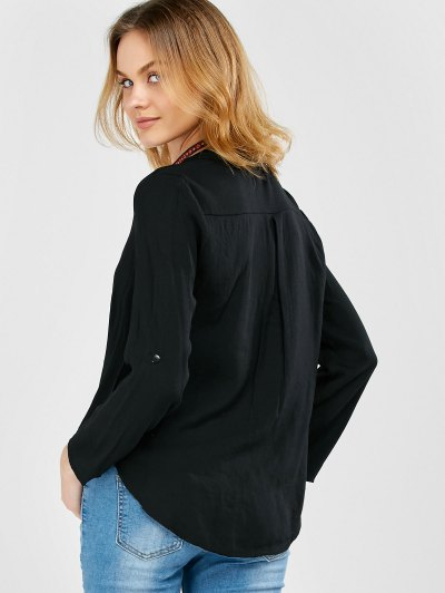 Oversized Asymmetrical Blouse - BLACK XL Mobile
