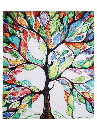 Colorful Tree Off Life Tapestry Beach Blanket - WHITE M Mobile