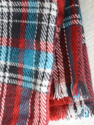 Plaid Pattern Fringed Cowl Scarf - RED  Mobile