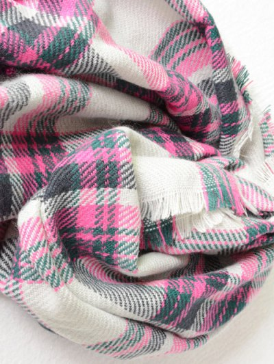 Plaid Pattern Fringed Cowl Scarf - PINK  Mobile