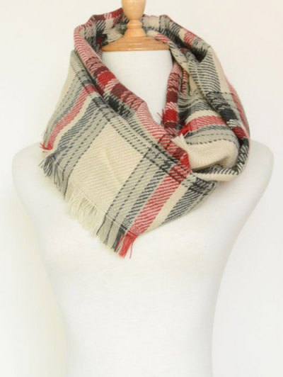 Plaid Pattern Fringed Cowl Scarf - BEIGE  Mobile