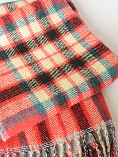 Dual Use Tartan Tassel Pashmina Scarf - RED  Mobile
