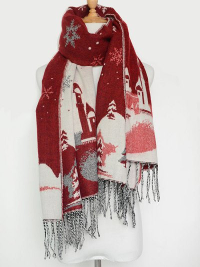 Christmas Snow Covered Landscape Tassel Scarf - WINE RED  Mobile