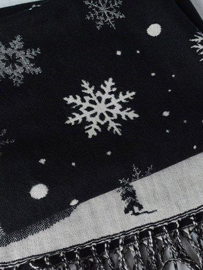 Christmas Snow Covered Landscape Tassel Scarf - BLACK  Mobile