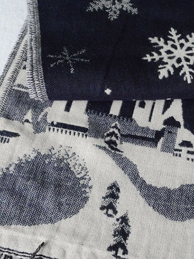 Christmas Snow Covered Landscape Tassel Scarf - PURPLISH BLUE  Mobile