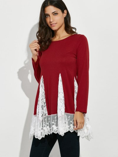 Scoop Neck Lace Panel Longline Tee - RED M Mobile