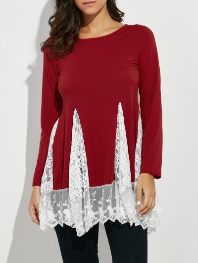 Scoop Neck Lace Panel Longline Tee - RED S Mobile