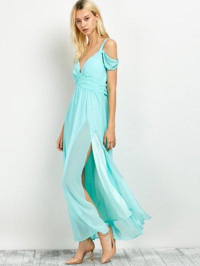 Cold Shoulder Slit Prom Dress - LIGHT GREEN L Mobile