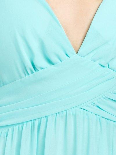 Cold Shoulder Slit Prom Dress - LIGHT GREEN M Mobile