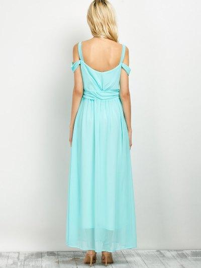 Cold Shoulder Slit Prom Dress - LIGHT GREEN S Mobile