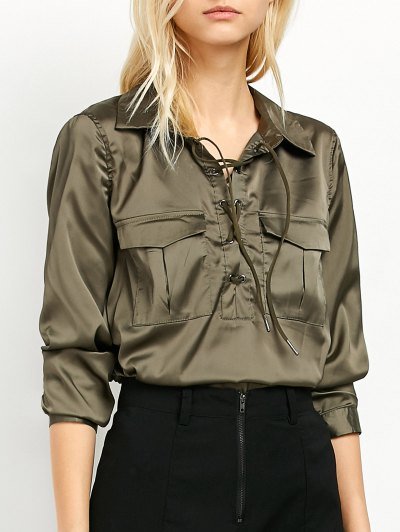 OL Lace-Up Shirt - GREEN XL Mobile