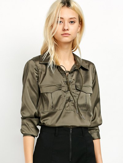 OL Lace-Up Shirt - GREEN L Mobile