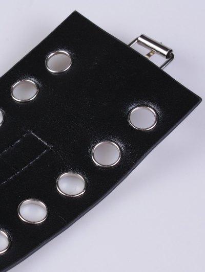 Hollow Circle Ring PU Belt - BLACK  Mobile