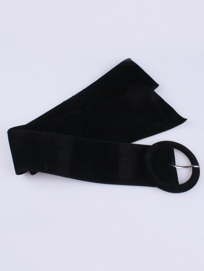 Round Buckle Wide Velvet Belt - BLACK  Mobile
