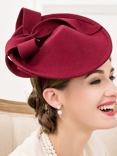 Bowknot Felt Cocktail Hat - WINE RED  Mobile