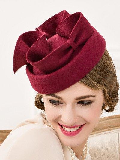 Big Bowknot Felt Pillbox Hat - WINE RED  Mobile