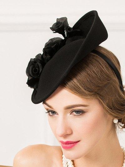 Rose Yarn Felt Cocktail Hat - BLACK  Mobile