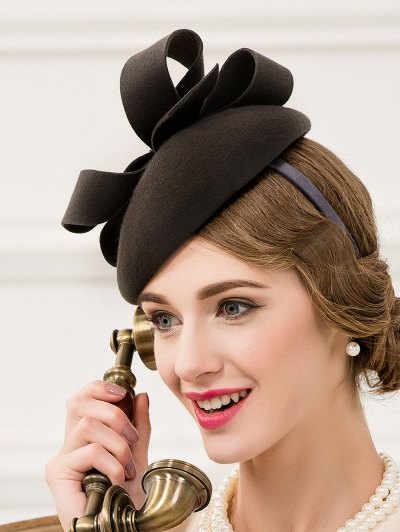 Hair Clip Wool Felt Pillbox Hat - BLACK GREY  Mobile