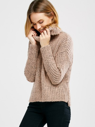 Turtle Neck Heathered Sweater - PINK ONE SIZE Mobile