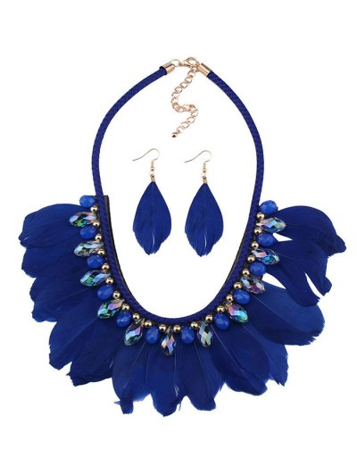 Artificial Gemstone Feather Necklace and Earrings - BLUE  Mobile