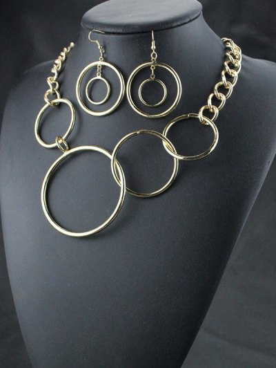 Circles Necklace with Earrings - GOLDEN  Mobile