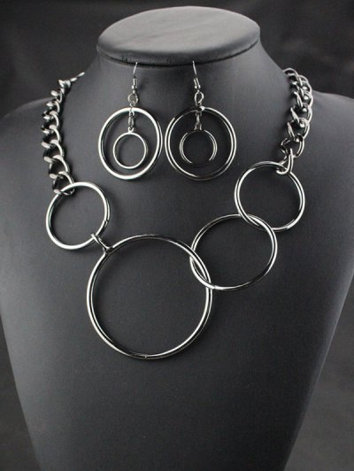 Circles Necklace with Earrings - BLACK  Mobile