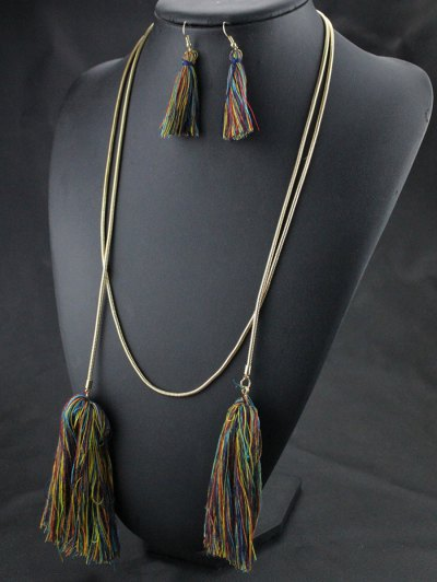 Tassel Necklace Drop Earrings and Bracelet - COLORMIX  Mobile