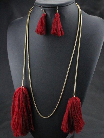 Tassel Necklace Drop Earrings and Bracelet - RED  Mobile