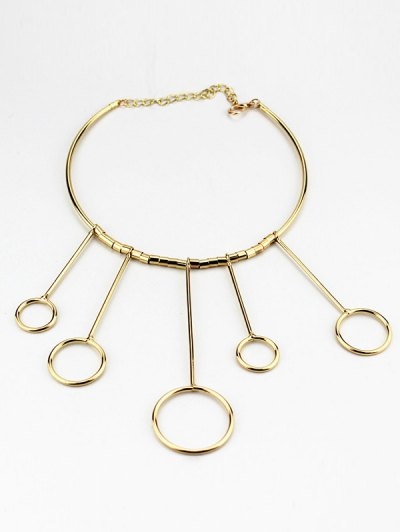 Circles Necklace with Drop Earrings - GOLDEN  Mobile