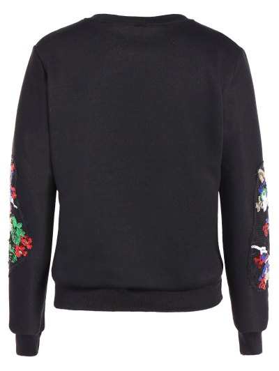 Round Collar Reindeer Print Sequin Sweatshirt - BLACK XL Mobile