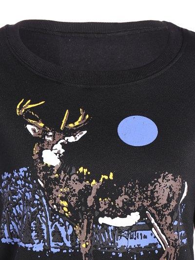 Round Collar Reindeer Print Sequin Sweatshirt - BLACK L Mobile