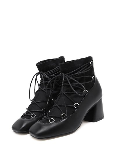 Lace Up PU Leather Panel Ankle Boots - BLACK 39 Mobile