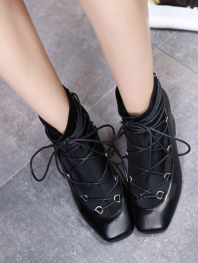 Lace Up PU Leather Panel Ankle Boots - BLACK 37 Mobile